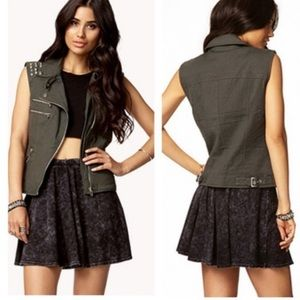 Forever 21 studded vest medium green moto